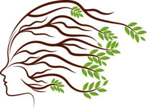 髪の毛が葉っぱでフサフサになっているイラスト