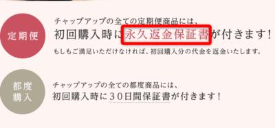 チャップアップシャンプー全額返金保証と書いてある公式サイトの画像
