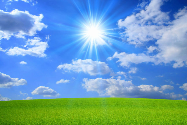 オーガニックをイメージした太陽と雲と緑の画像