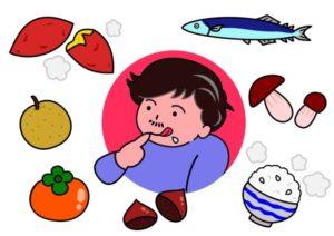 食べ物に囲まれる男性のイラスト