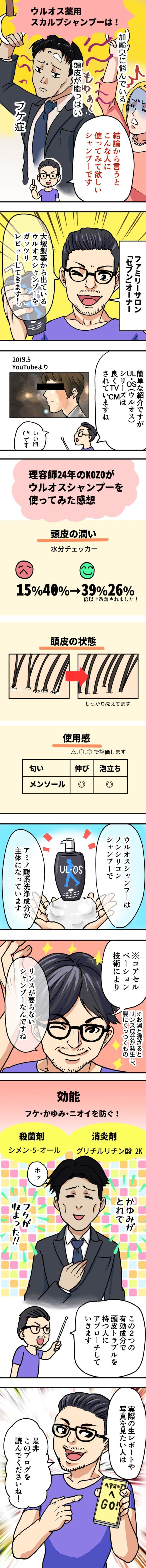 UL・OS(ウルオス)薬用スカルプシャンプーの効果口コミ!