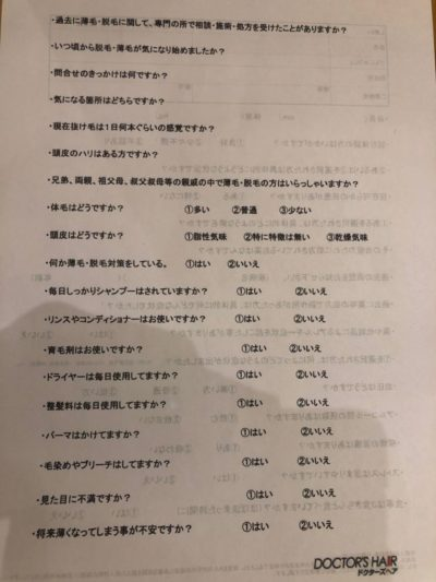 AGAクリニックの問診票