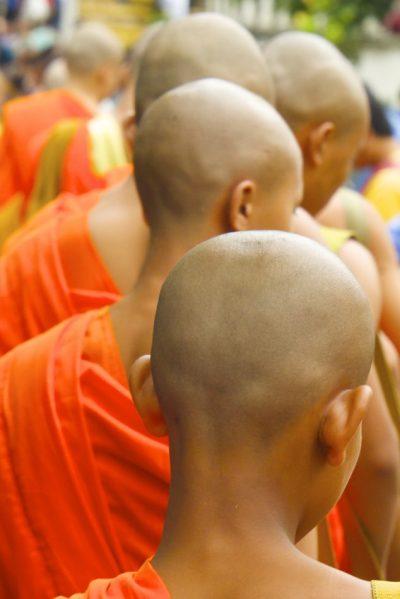 僧侶の後ろ姿の画像